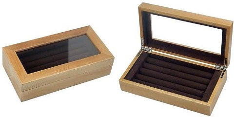 20 pair natural wood cufflink box