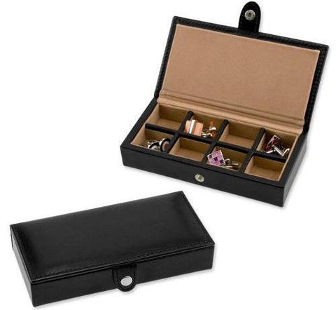 8 pair bonded leather cufflink storage
