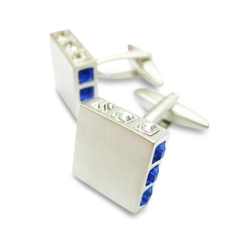 Square Crystal Ends Blue & Clear Cufflinks