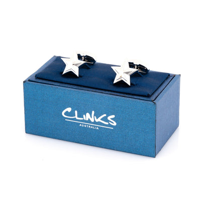 Silver Star Cufflinks Novelty Cufflinks Clinks Australia
