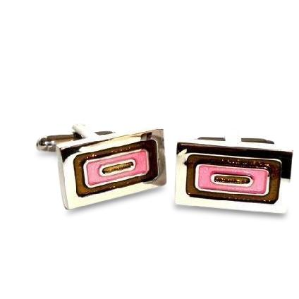 Concurrent Rings Pink Cufflinks