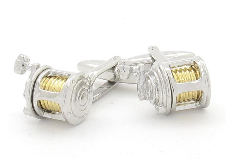 Silver Gold Fishing Reel Cufflinks, Novelty Cufflinks, Cuffed.com.au, CL4070, Sports, Clinks Australia