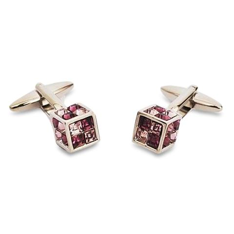 Crystal Cube Purple Cufflinks