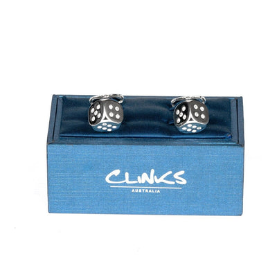 "Silver ""Diamond"" Dice Cufflinks Novelty Cufflinks Clinks Australia"