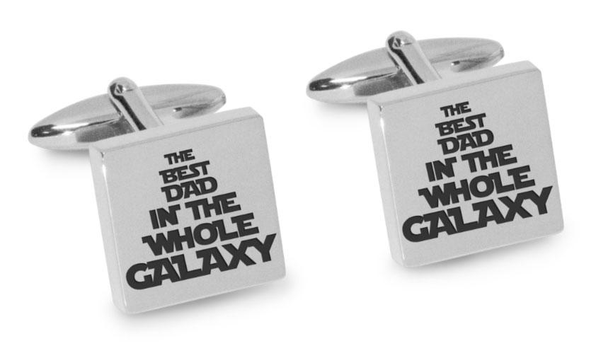 Best Dad in the Galaxy Engraved Cufflinks Engraving Cufflinks Clinks Australia Silver Black