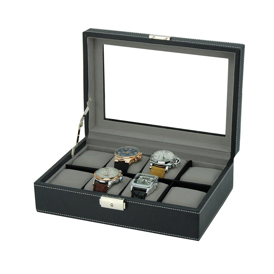 Black Leather Watch Box for 8 Watches Storage Boxes Clinks Australia Default