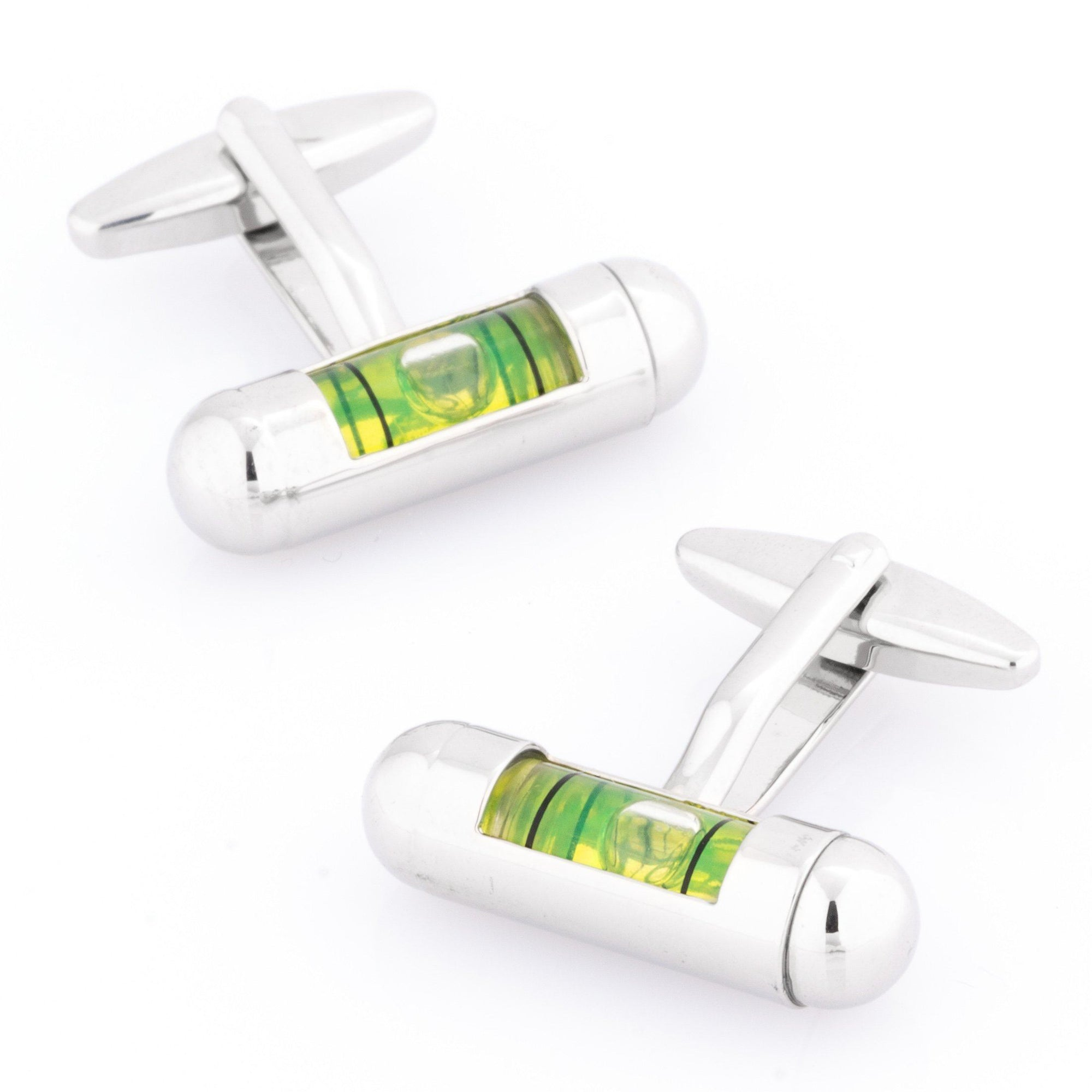 "Green ""Spirit Level"" Cufflinks Novelty Cufflinks Clinks Australia Green ""Spirit Level"" Cufflinks"