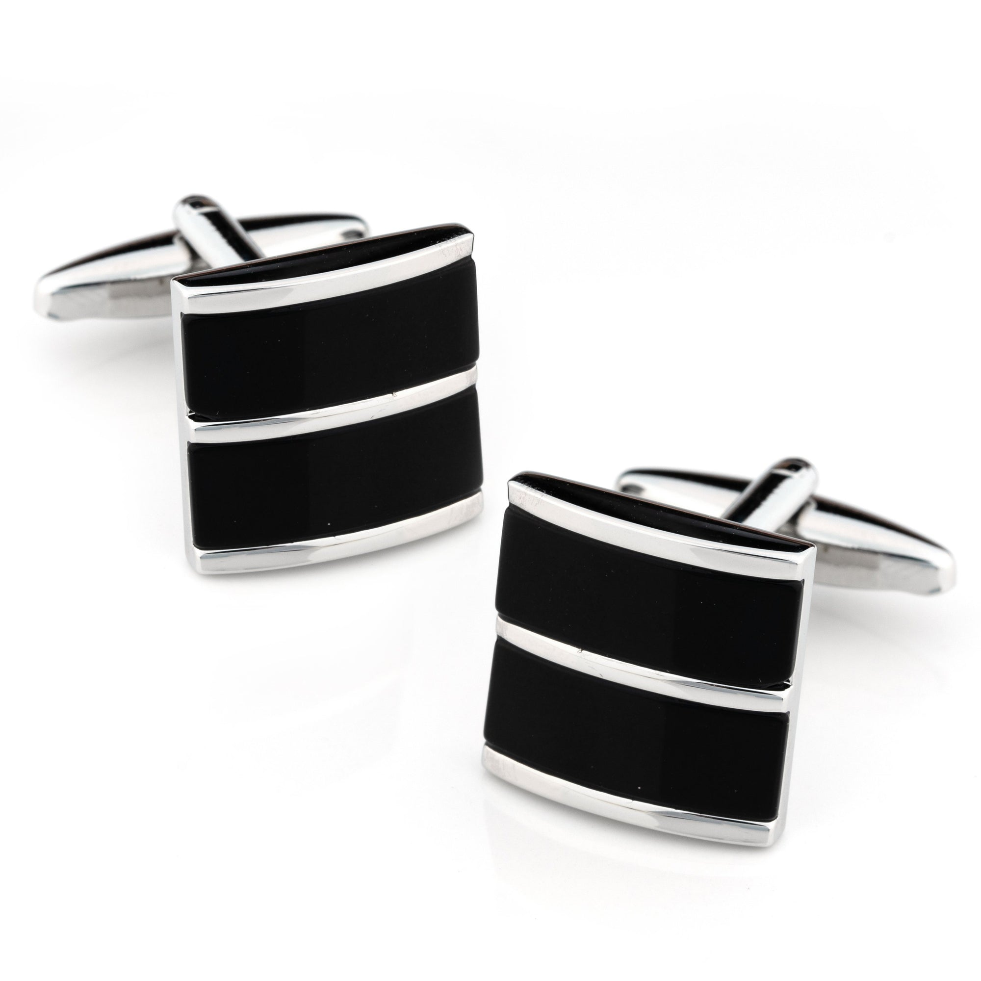Dual Black Ice Cateye Silver Cufflinks Classic & Modern Cufflinks Clinks Australia Dual Black Ice Cateye Silver Cufflinks