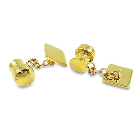 Champagne Cork Gold Cufflinks