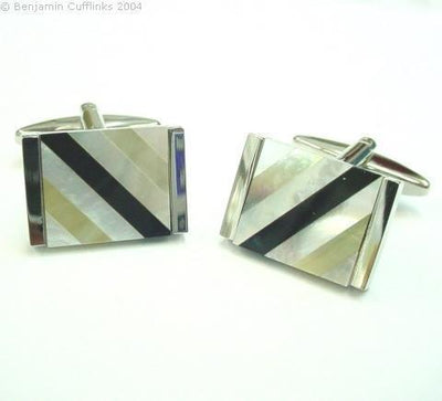 Mother of PearlOnyx Diagonal Cufflinks Classic & Modern Cufflinks Clinks Australia