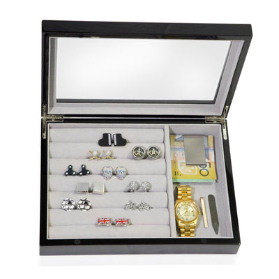 Medium Cufflink and Valet Box Black Storage Boxes Clinks Australia