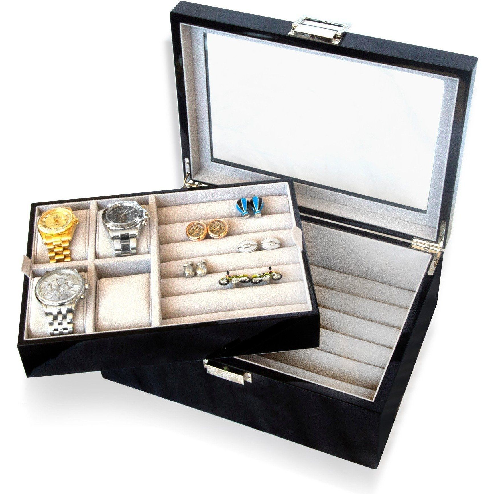 50 Pair Cufflink and Watch Box Double Decker Black Clinks Australia