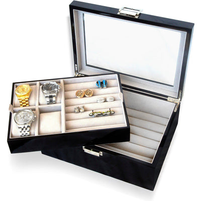 50 Pair Cufflink and Watch Box Double Decker Black , Storage Boxes Clinks Australia , CB3071 , Black Double Decker Cufflink & Watch Box , Cuffed , Clinks