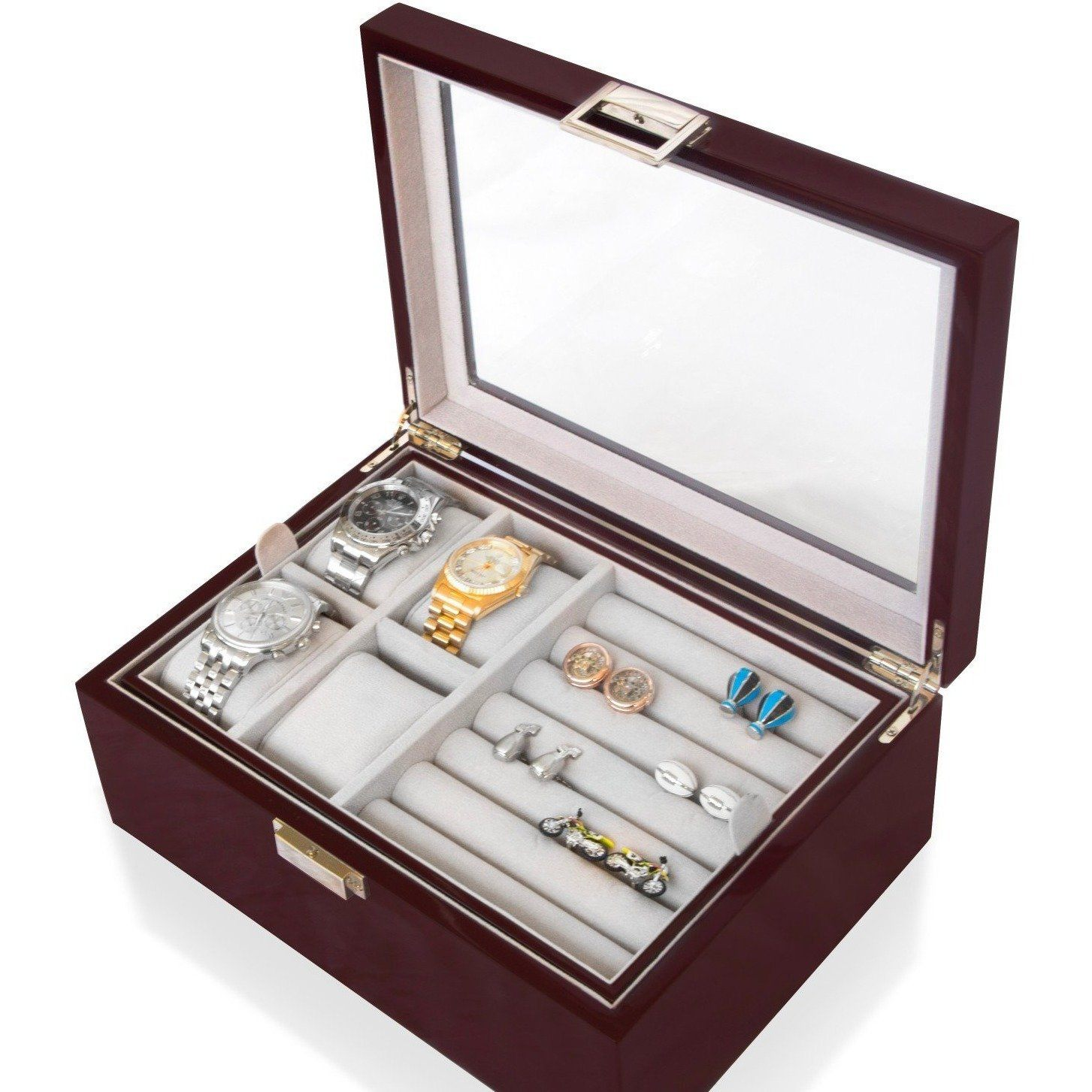 50 Pair Cufflink and Watch Box Double Decker Mahogany, Storage Boxes, Cuffed.com.au, CB3070, $169.00
