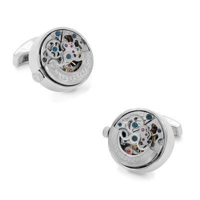 Working Kinetic Watch Movement Cufflinks Silver Novelty Cufflinks Clinks Australia