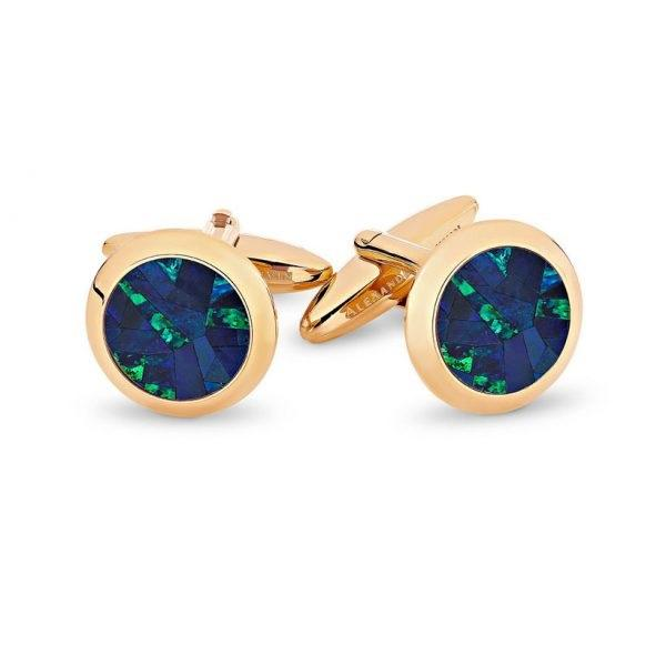 Australian Premium Opal Cufflinks (Blue with Rose Gold) , Classic & Modern Cufflinks , CL7801 , Mens Cufflinks , Cufflinks , Cuffed , Clinks ,Clinks Australia