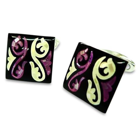 Purple Mother of Pearl Swirls Square Cufflinks