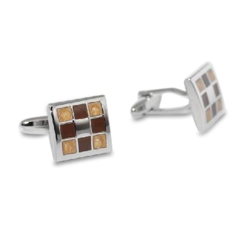 Nine Panel Brown Cufflinks, Classic & Modern Cufflinks, Cuffed.com.au, ZBC2223, $29.70