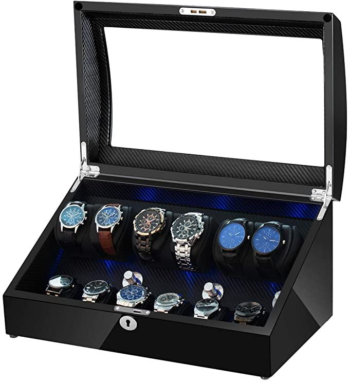 Watch Winder Box 6 + 6 Watches in Carbon Fibre Interior Watch Winder Boxes Clinks Default