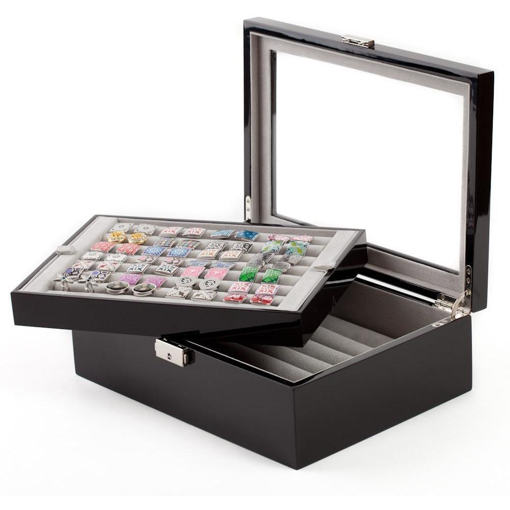 72 Pair Double Decker Black Cufflink Box, Storage Boxes, Cuffed.com.au, CB3061, $159.00