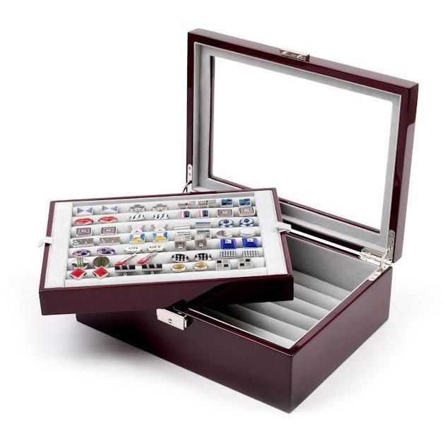 72 Pair Double Decker Mahogany Cufflink Box, Storage Boxes, Cuffed.com.au, CB3060, $159.00