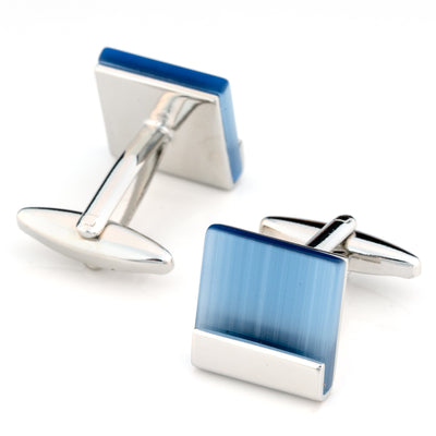 Blue Ice Cateye Cufflinks Classic & Modern Cufflinks Clinks Australia Blue Ice Cateye Cufflinks