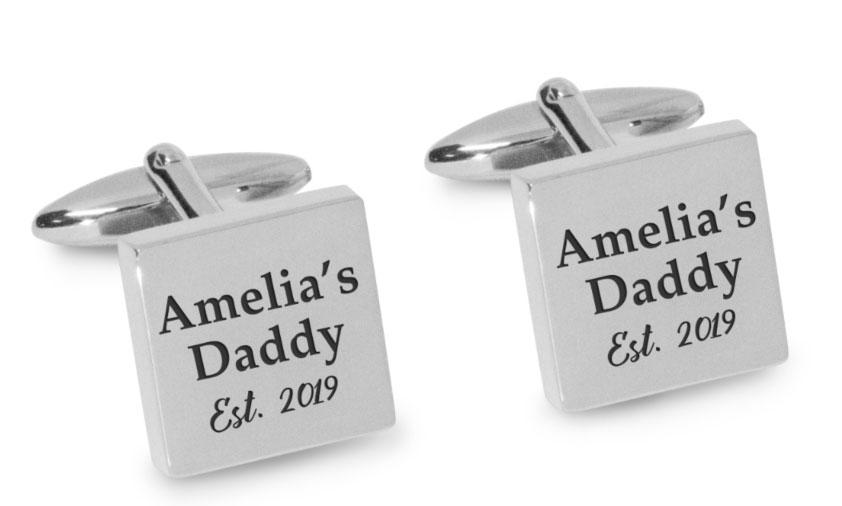 Name Daddy Year Engraved Cufflinks Engraving Cufflinks Clinks Australia Silver Black