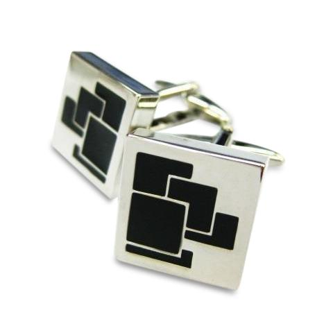 Overlapped Squares Black Cufflinks
