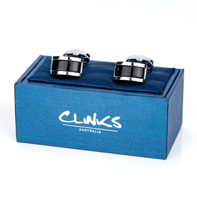 Midnight Black Cateye Cufflinks Classic & Modern Cufflinks Clinks Australia