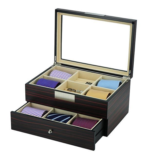 Ebony Wooden Tie Box for 12 Storage Boxes Clinks Default