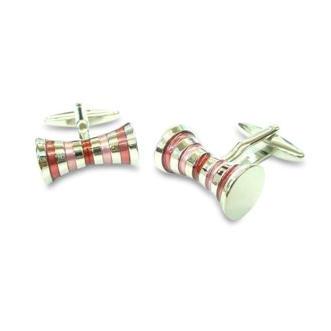 Double Barrel PinkRed Cufflinks Classic & Modern Cufflinks Clinks Australia Double Barrel Pink Red Cufflinks