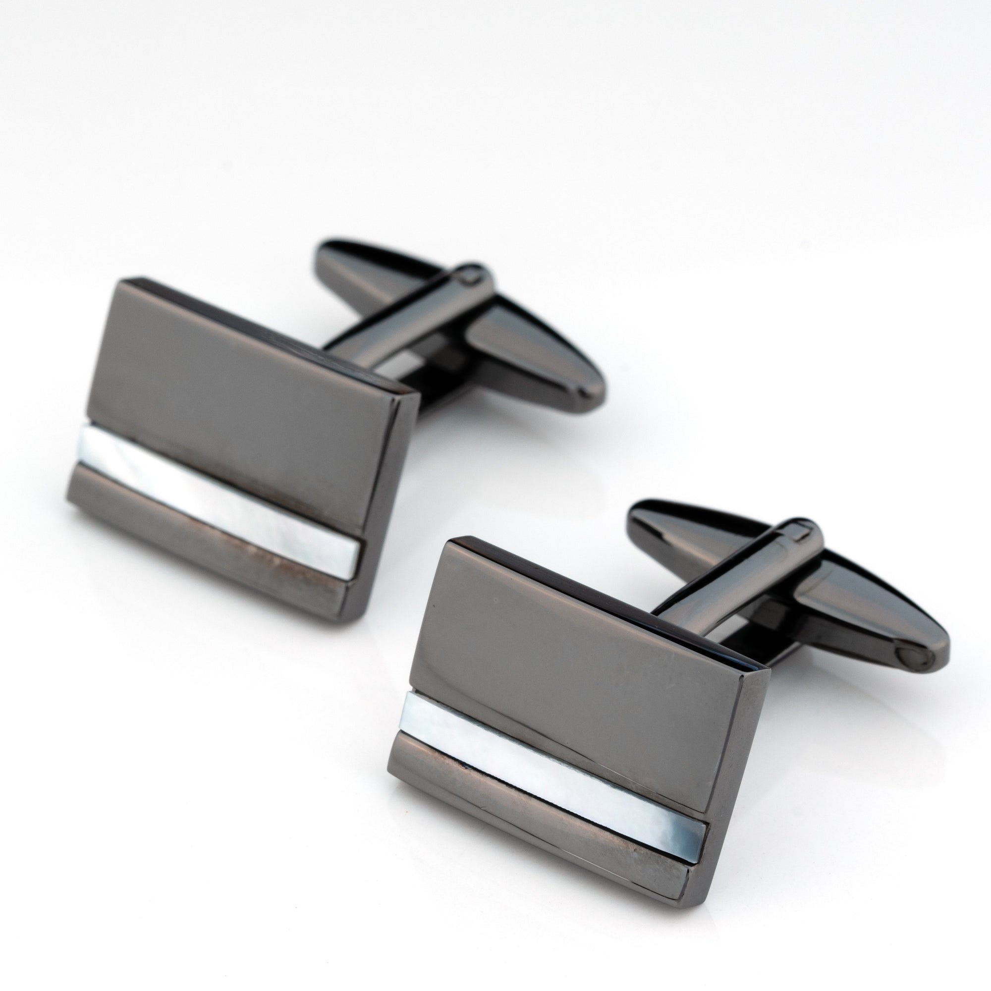 Gunmetal with Mother of Pearl Cufflinks Classic & Modern Cufflinks Clinks Australia Gunmetal with Mother of Pearl Cufflinks