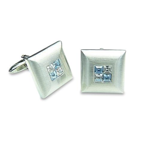 Blue Crystal Four Square Cufflinks Classic & Modern Cufflinks Clinks Australia Blue Crystal Four Square Cufflinks