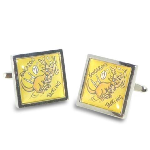 Road Sign Cufflinks: Beware Kangaroos Rugby Tackling Novelty Cufflinks Clinks Australia