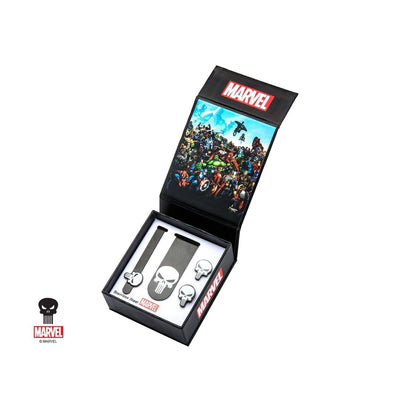 Marvel Punisher Gift Set with Cufflinks Tie Bar and Money Clip Novelty Cufflinks Marvel Comics