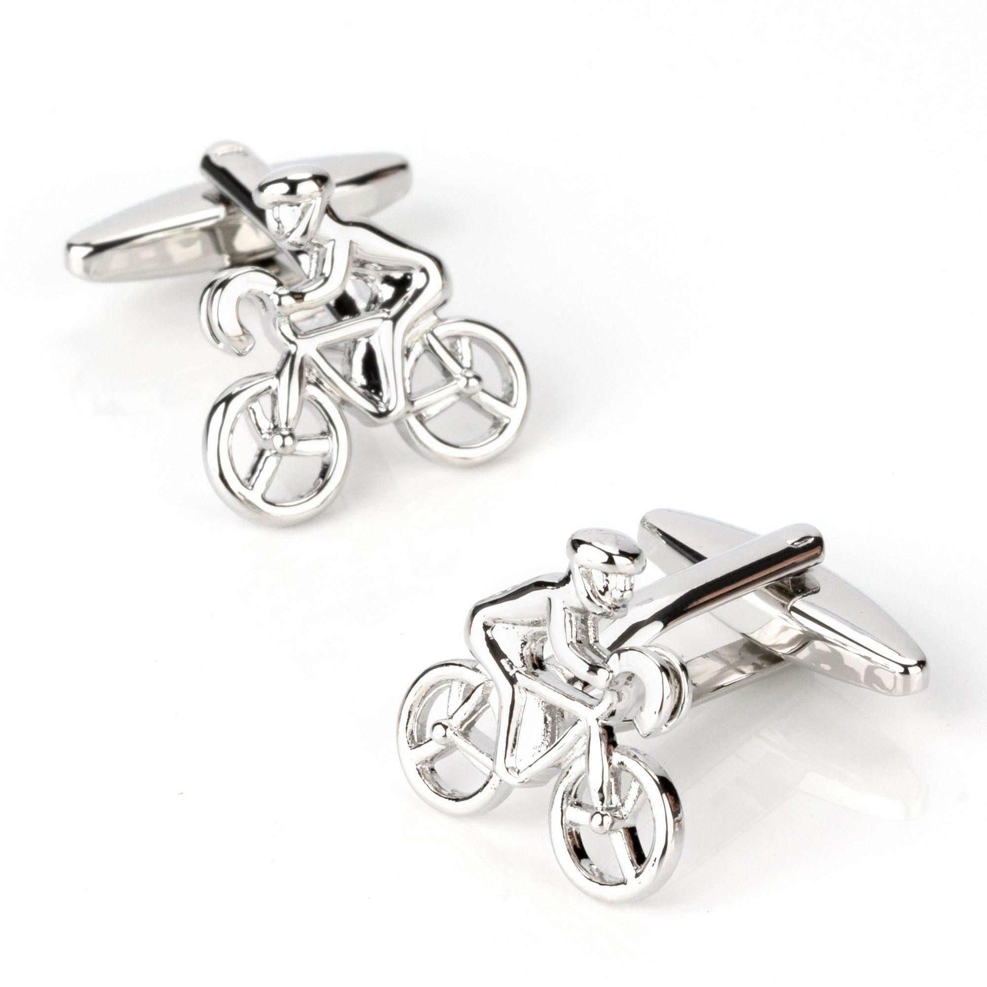 Silver Bicycle Cyclist Cufflinks, Novelty Cufflinks, Cuffed.com.au, CL4041, Bicycles & Motorcycles, Silver, Sports, Clinks Australia