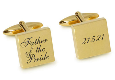 Father of the Bride Wedding Date Cufflinks Engraving Cufflinks Clinks Australia Gold Black
