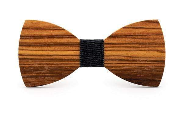 Zebra Wood Denim Adult Bow Tie