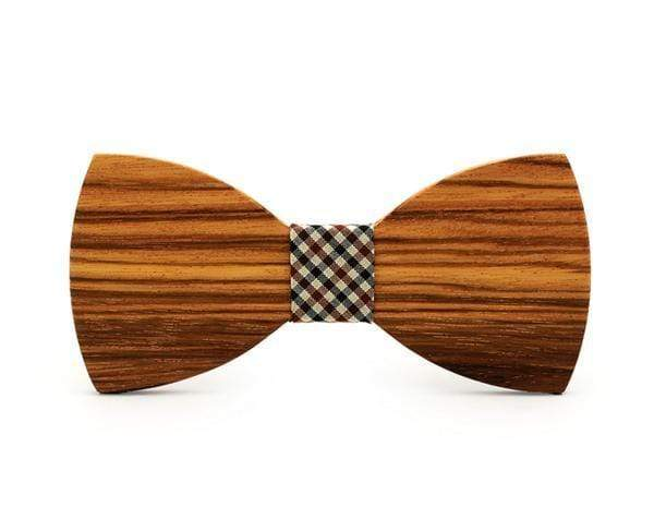 Zebra Wood Check Adult Bow Tie