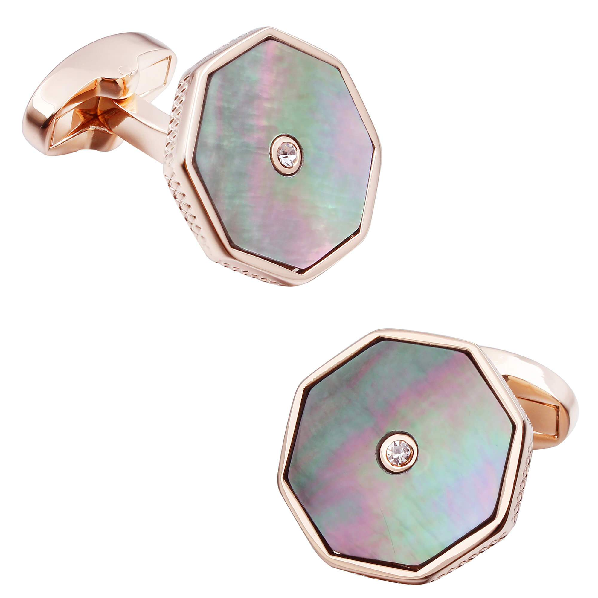 Black Mother of Pearl with Crystal in Rose Gold Cufflinks Classic & Modern Cufflinks Clinks Australia Default