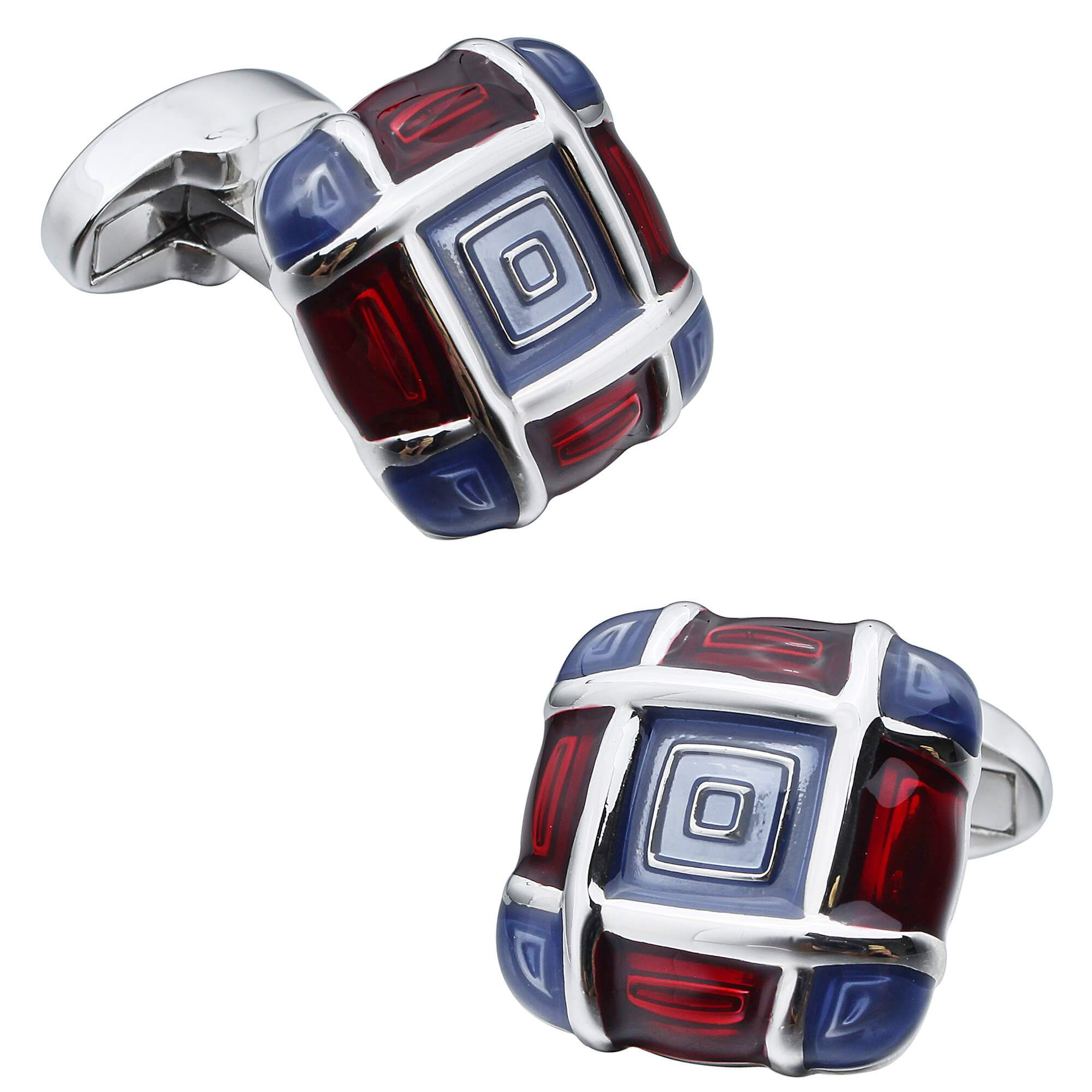 Blue and Red Enamel Squares Cufflinks Classic & Modern Cufflinks Clinks Australia Default