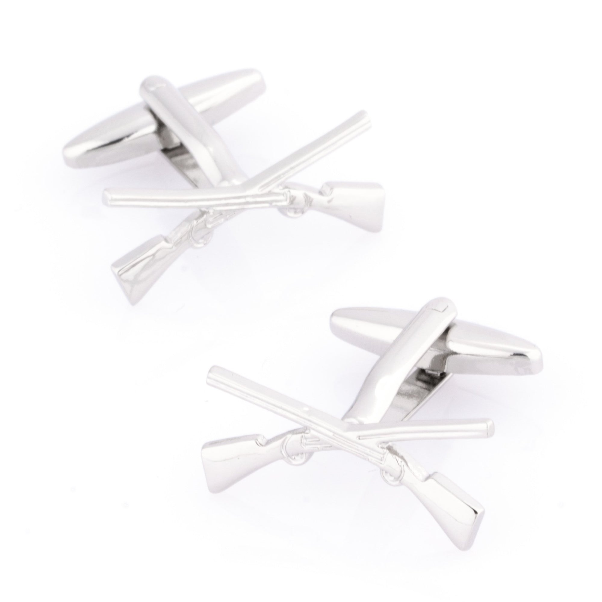 Crossed Rifle Cufflinks, Novelty Cufflinks, Cuffed.com.au, CL9222, Military & Weaponry, Clinks Australia