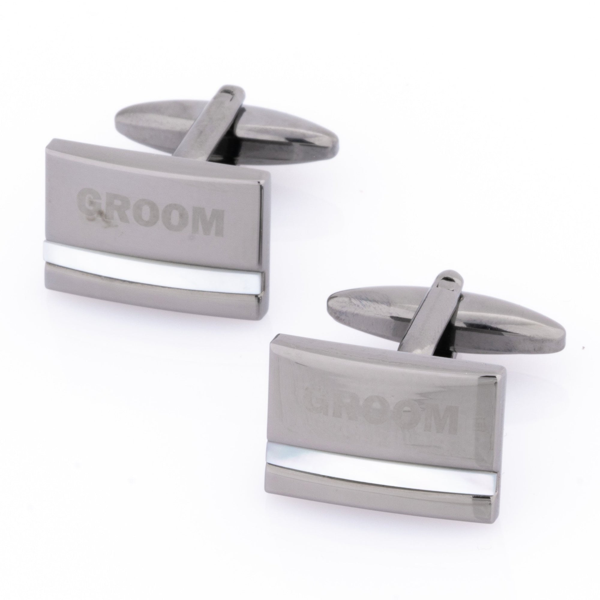 Groom Laser Etched Mother of Pearl Gunmetal Cufflinks