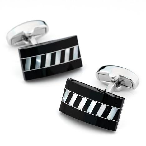 Black Onyx Rectangle interlaced Mother of Pearl Cufflinks