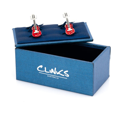 """Rock Out"" Red Guitar Cufflinks , Novelty Cufflinks Clinks Australia , CL8001 , Mens Cufflinks , Cufflinks , Cuffed , Clinks"