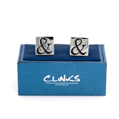 Black Ampersand & Symbol on Silver Square Cufflinks, Novelty Cufflinks, CL8390, Mens Cufflinks, Cufflinks, Cuffed, Clinks, Clinks Australia