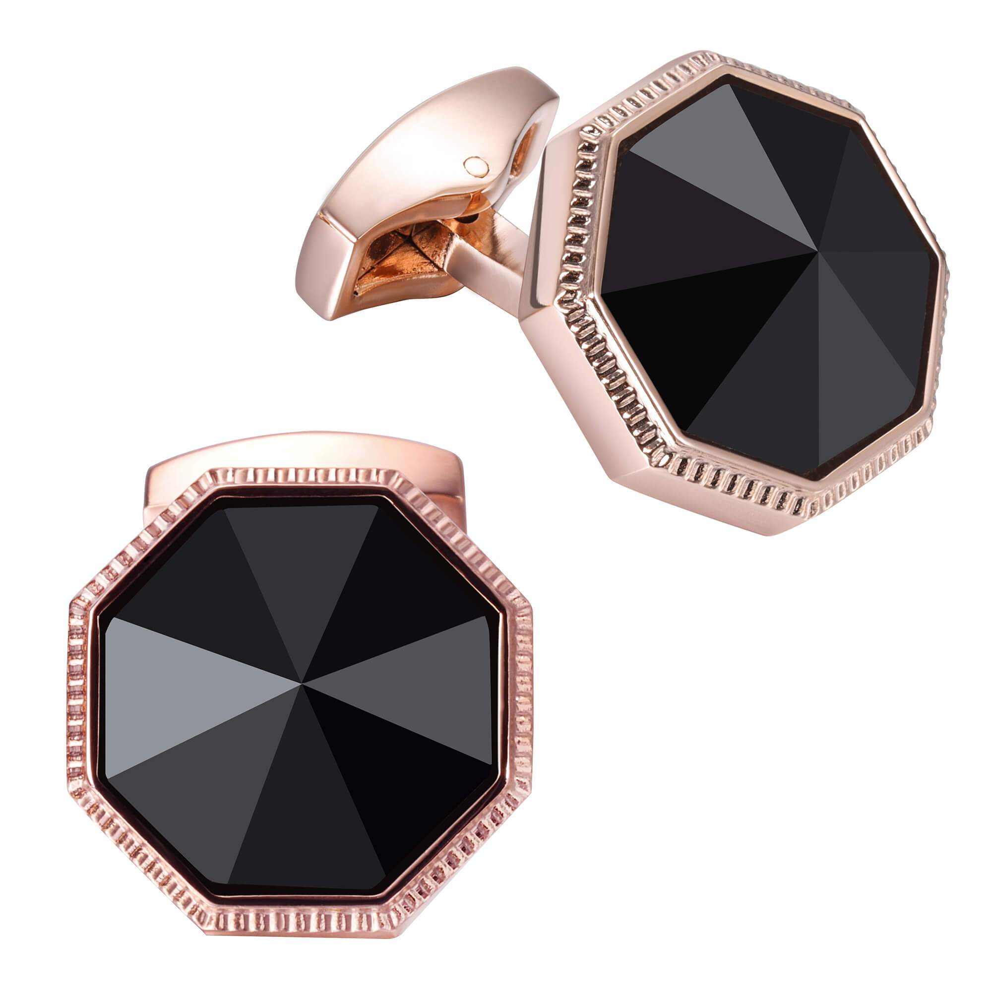 Faceted Black Onyx in Rose Gold Cufflinks Classic & Modern Cufflinks Clinks Australia Default
