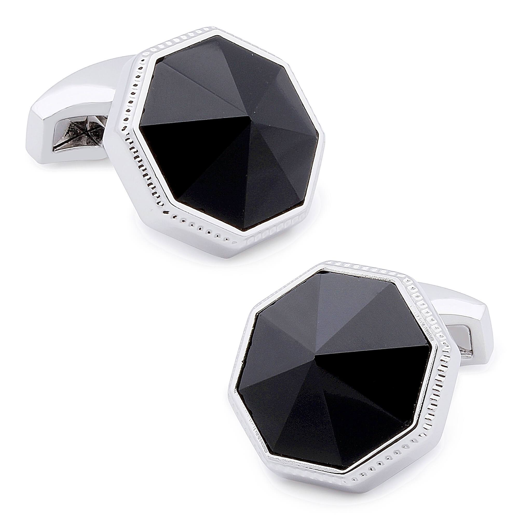Faceted Black Onyx in Silver Cufflinks Classic & Modern Cufflinks Clinks Australia Default