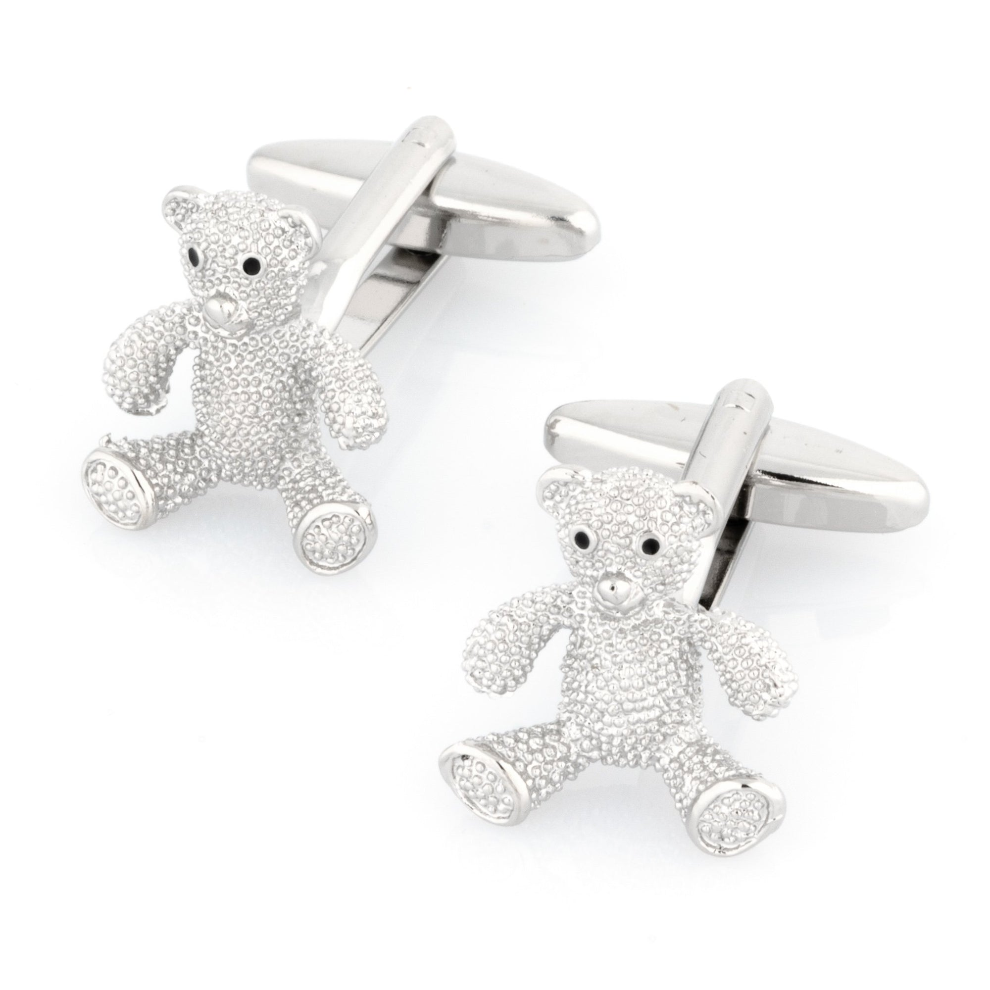 Silver Textured Teddy Bear Cufflinks