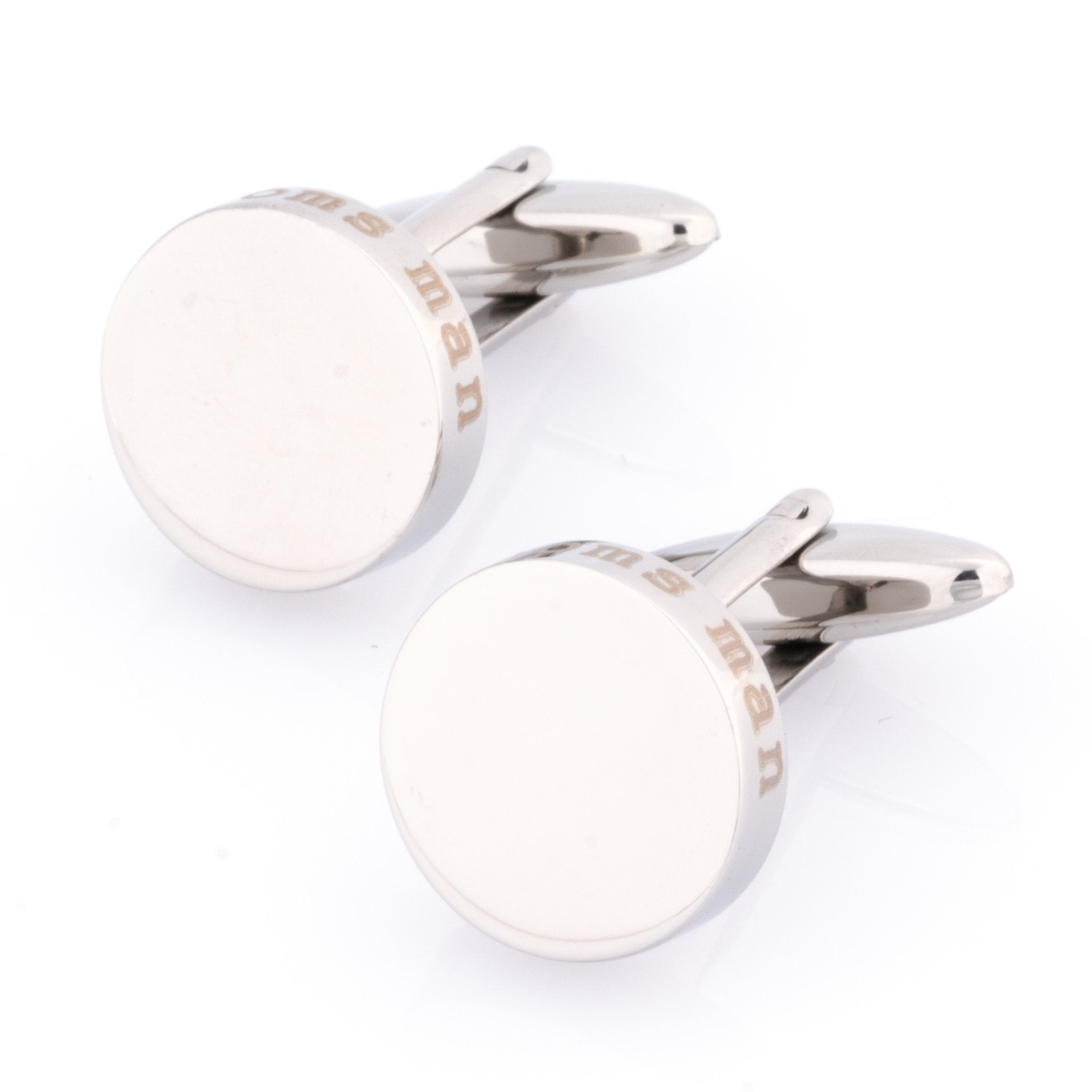 Groomsman Laser Etched Round Engravable Cufflinks, Wedding Cufflinks, Cuffed.com.au, CL9532, Wedding, Clinks Australia